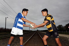 SHIELD RIVALS: Brothers Angus Gillies, left, from Hastings West and Jayden Gillies from Hastings East ham it up at the Ross Shield border. PHOTO/PAUL TAYLOR