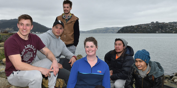 Dive Otago students Reece Groenendal, Tama Samuel, Jordan Read, instructor Gina Watts, Shane Timu and Devlina Sinha all of Dunedin. Photo / Gregor Richardson, ODT