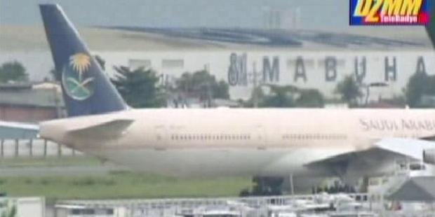 Saudi Arabia Airlines Flight SV 872 sits in an isolated corner of Manila International airport. Photo / Twitter