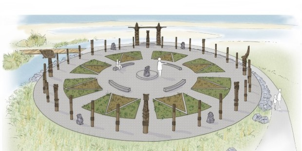 An artist's impression of the celestial navigation compass - a key element of the estuary enhancement project in Waitangi Regional Park.