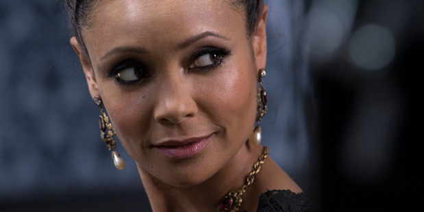Thandie Newton as Maeve Millay, a brothel manager in Westworld.