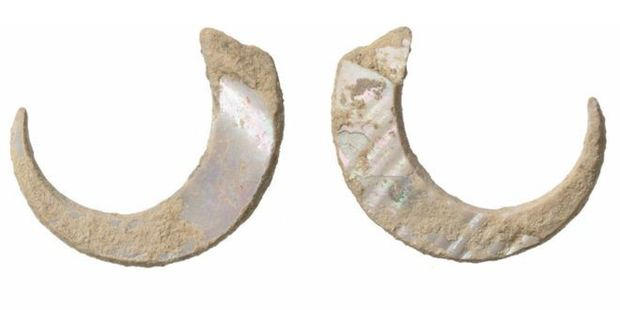 The ancient hooks are made from sea snail shells. Photo / National Academy of Sciences