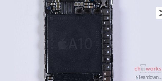 The new, powerful A10 chip. Photo / Chipworks