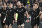All Blacks react to the big screen replay as TJ Perenara's attempted try against South Africa during the Rugby Championship test match between New Zealand and South Africa. Photo / Brett Phibbs