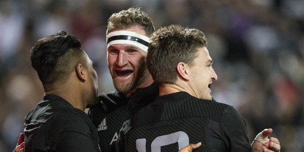 Julian Savea, Kieran Read and Beauden Barrett celebrate Savea's try in the All Blacks and Argentina Rugby Championship test match. Photo / Jason Oxenham
