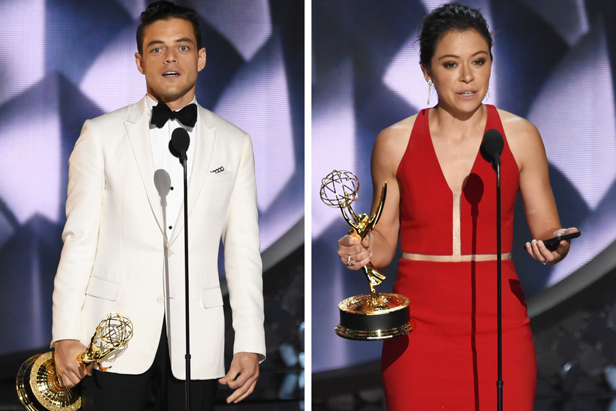 Rami Malek of Mr. Robot and Tatiana Maslany of Orphan Black were the winners for best drama acting. Photos / AP