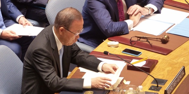UN Secretary General Ban ki Moon addresses the Security Council on Syria. Photo / NZ Herald