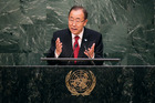 Syria's bloody civil war once again dominated United Nations Secretary General Ban Ki-moon's speech to the UN general assembly. Photo / Getty Images