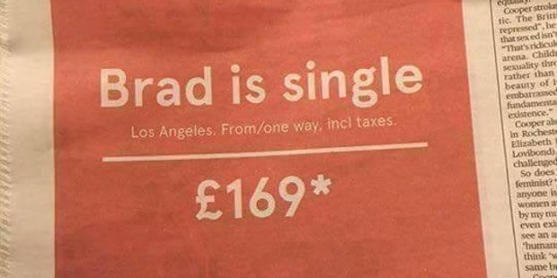 Loading Too soon? These ads appeared in newspapers for Norwegian airlines. Photo / Twitter