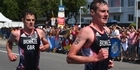 Watch: Brothers cross line together in dramatic triathlon finish