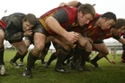 Greg Smith (third left) packs down in the Waikato front row during training in 2004. Photo / Greg Bowker
