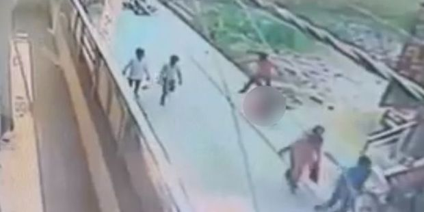 A still from the video of the shocking attack on the streets of Delhi. Photo / CCTV