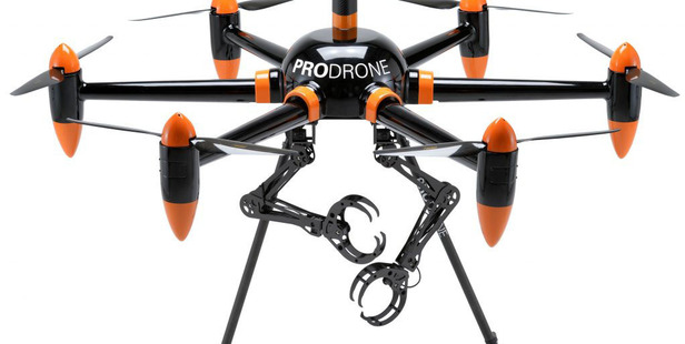 The PD6B-AW-ARM drone from Prodrone is marketed as the first with dual robotic arms. It can lift up to 10 kilograms. Photo / Prodrone