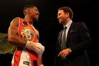 Eddie Hearn (right) will announce Anthony Joshua's next opponent on Tuesday. Photo / Getty Images