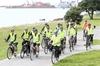 "PEDAL ON: The ""retired blokes spinning spokes"" along the Hardinge Rd seafront."