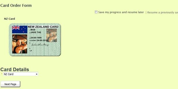 The website offers fake ID cards for New Zealanders. Photo / Supplied