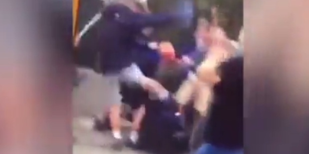 Footage shot on a cellphone shows the large brawl.