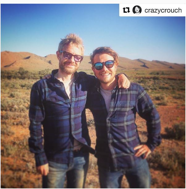 Martin Freeman and his double filming Cargo in Australia. Photo / Martin Freeman Instagram