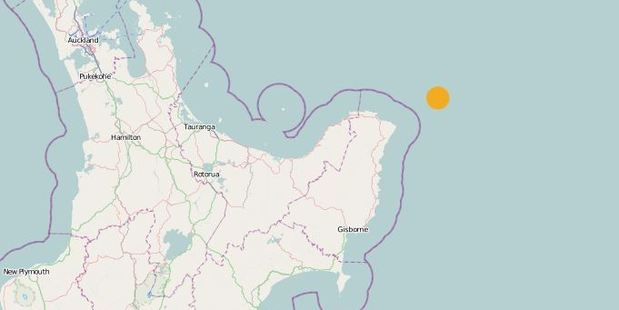 Yellow dot shows the epicentre of the quake which was recorded at 5.1. GeoNet