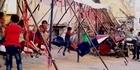 Watch: Watch: Missiles-turned-swings delight Syrian kids