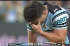 Footage from Sky.    An absolute blinder from Cronulla's James Maloney has rocketed the Sharks into their first Grand Final in almost 20 years.  He kicked six out of seven goals, scored two brilliant tries - and even passed 200 points for the season in Cronulla's thrashing of North Queensland on Friday night.