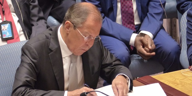 Russian Foreign Minister Sergey Lavrov at the UN Security Council meeting chaired by John Key. Photo / NZ Herald