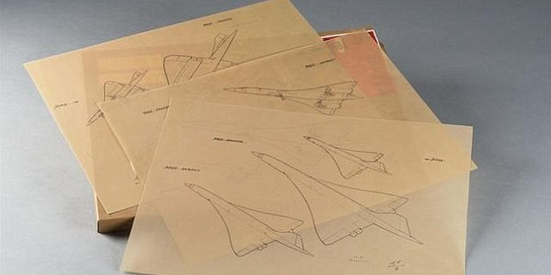 Sketches of Concorde planes are among the items that will be auctioned in Toulouse in November. Photo / www.marclabarbe.com