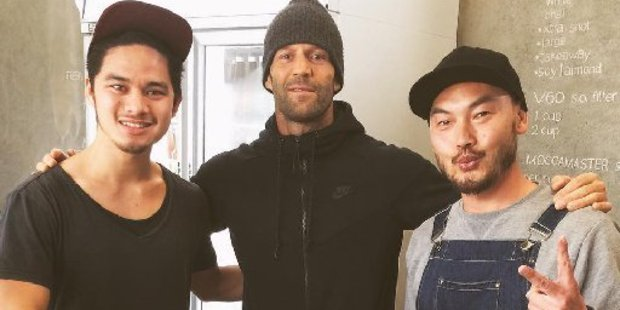 Hollywood actor Jason Statham took time out from filming to visit the Cup and Bun cafe in Grey Lynn. Photo / Graham Eriwata