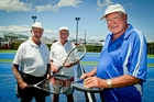 The oldest of the Hawke's Bay contingent in the New Zealand Veterans tennis tournament will be 84-year-olds Graham Ramsden (left) and Lloyd Jones and 85-year-old Buster Sharplin. Photo / Warren Buckland