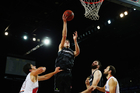 Tom Abercrombie takes one to the rim against the Hawks. Photo / photosport.nz