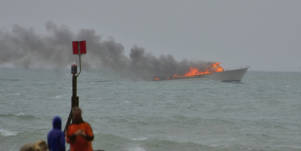 Loading Emergency services received reports of the ferry on fire at about 3.45pm. Photo / Whakatane Beacon