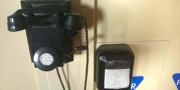 An old telephone inside Hillary's Hut at Scott Base. Photo / Jamie Morton