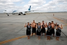 The inaugural flight is greeted at Houston airport by Air New Zealand's kapa haka group. Photo / Supplied