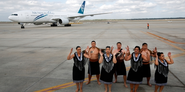 Loading The inaugural flight is greeted at Houston airport by Air New Zealand's kapa haka group. Photo / Supplied