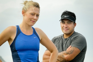 Part of the Lowe Corporation Rescue Helicopter fundraising team, Jess and Reuben Harrison are training together for the half-marathon at the Air New Zealand Hawke's Bay International Marathon, to be held in Napier in May. Photo / Warren Buckland