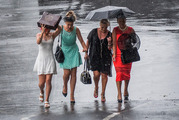 Race-goers brave the rain at Ellerslie Racecourse in Auckland earlier this month. More of the same awful weather is expected this week. Photo / Steven McNicholl.