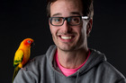 David Farrier and his pet parrot Keith. Photo/Dean Purcell