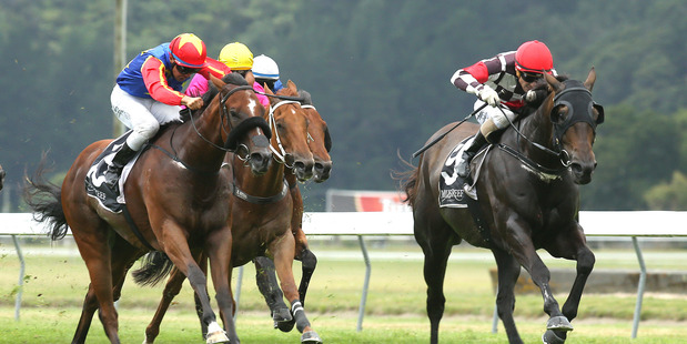 Adventador (right) stages a huge upset in the JR&N Berkett Telegraph at Trentham on Saturday.Picture / Trish Dunell