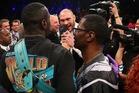 Deontay Wilder and Heavyweight Champion Tyson Fury exchange words. Photo / Getty Images.