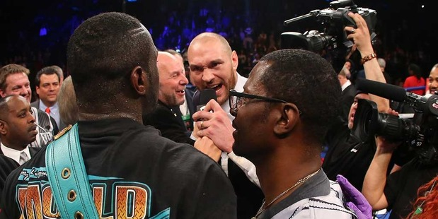 Loading Deontay Wilder and Heavyweight Champion Tyson Fury exchange words. Photo / Getty Images.