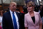 Donald Trump and Sarah Palin in New York. Palin has expressed admiration for Trump but so far has stopped short of endorsing him. Photo / Getty Images