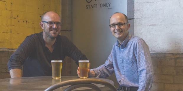 The Good Beer Co. founder James Grugeon (on the left)  and Darren Kindleysides, director of the Australia Marine Conservation Society.
