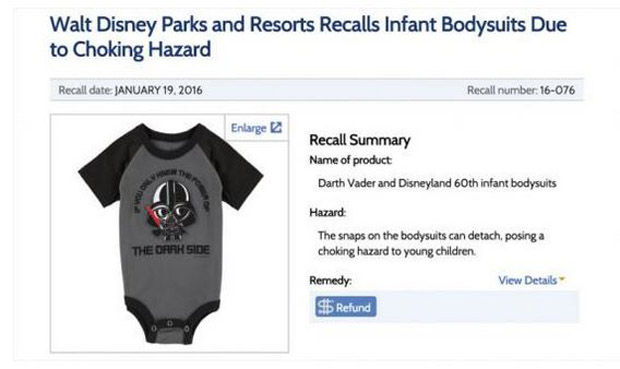 The onesies were recalled after going on sale in Disney stores. Photo / Consumer Product Safety Commission