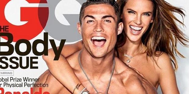 Cristiano Ronaldo and Victoria Secret Angel Alessandra Ambrosio have stripped off for GQ. Photo / Supplied.