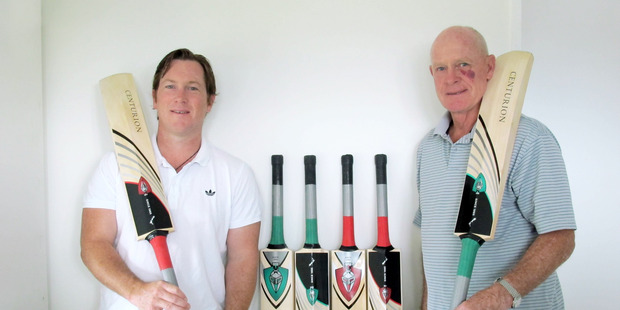 Kayne and Colin Henderson with their new Centurion cricket bats. Photo/supplied