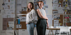 AUT students Charlotte Dickson, left, and Eden Short in the design lab in Auckland Hospital. Photo / Jason Oxenham