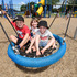 Memorial Park L-R Liam 5 and Jaz Clifford, 3 and Angus,5, enjoying a classic swing. Photo/George Novak