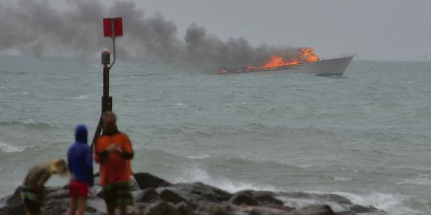 The Pee Jay 5 on fire off Whakatane. Photo / Whakatane Beacon