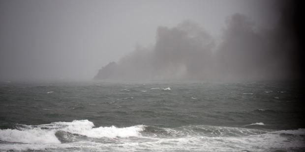 Ship on fire off Whakatane coast. Photo/George Novak