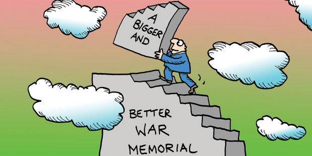 Commemorating past wars is a tricky business. Illustration / Peter Bromhead